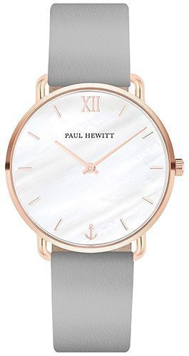 Paul Hewitt Damen Armbanduhr Mermaid Line Leder 33mm Grau-Roségold-Perlmutt