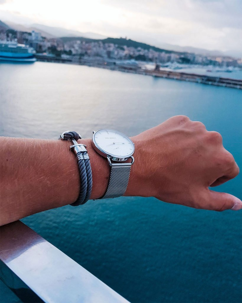 With suitable anchor bracelet lying at anchor in the port of Palma de Mallorca.