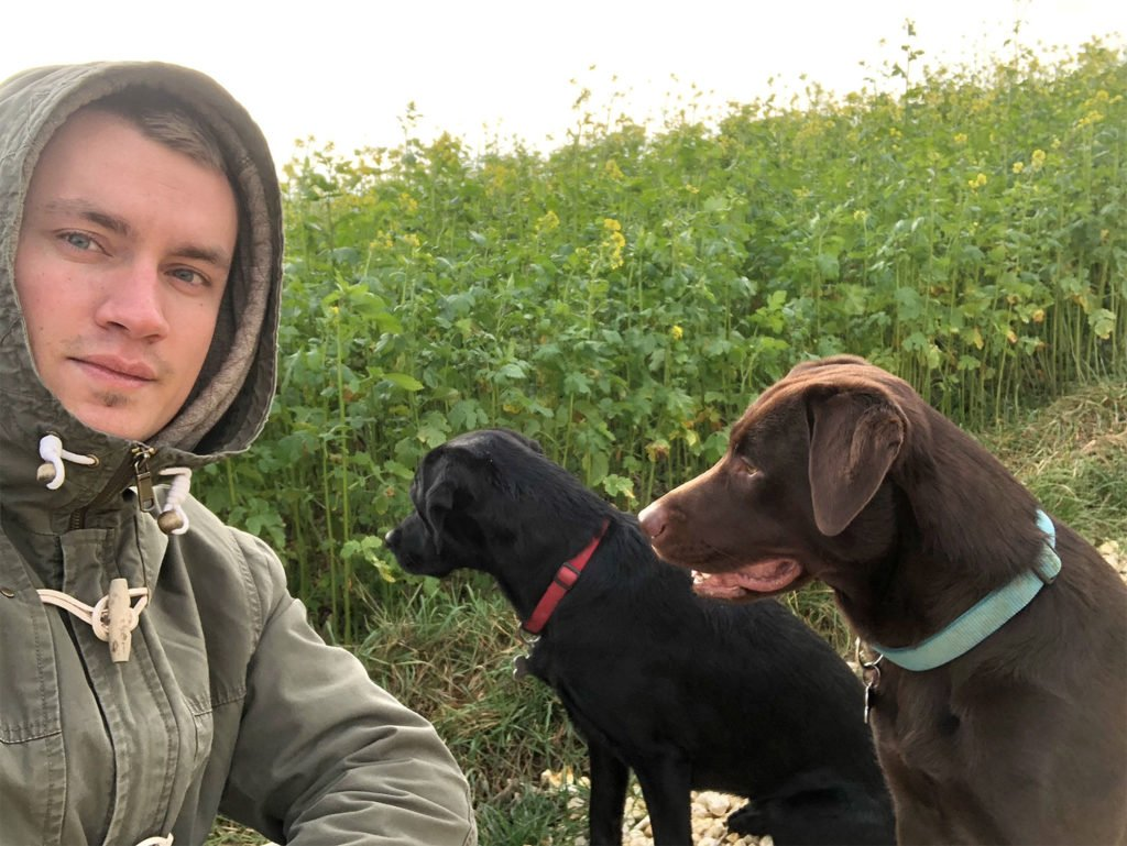 Philipp and the two Labradors
