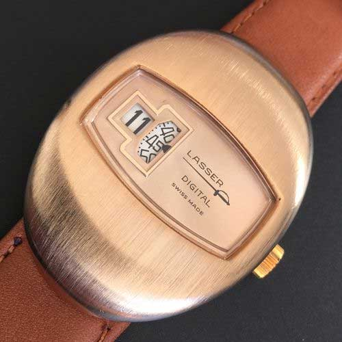 brushed rose gold Lasser jump hour
