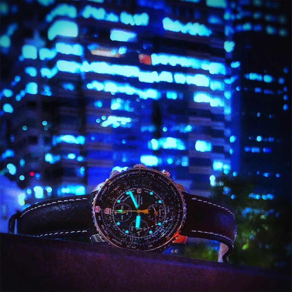 Seiko Flighty: This night shot of the Seiko Flightmaster is an example of the dynamic colours that I enjoy with HDR photography