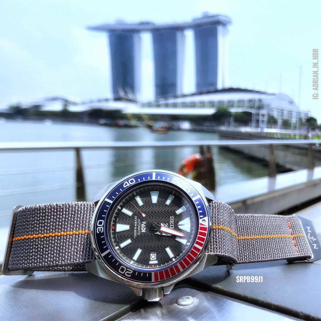 Seiko SRPB99 Padi Samurai against the iconic Marina Bay Sands in Downtown Singapore
