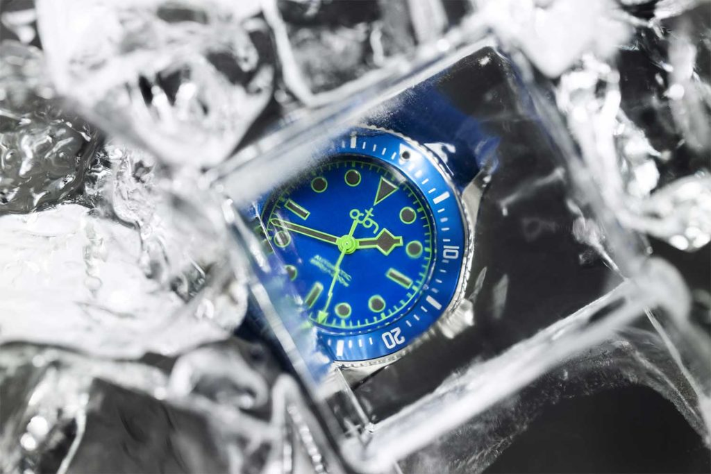 Neptune Blue Watch with Blue Textured Rubber with White Stitch Strap