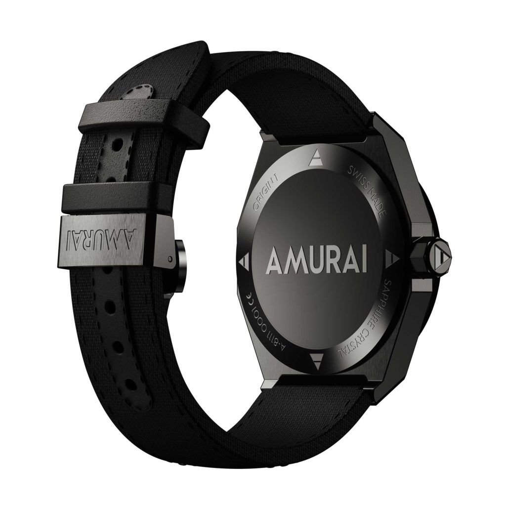 AMURAI Origin 1 - Watch case back view with nylon strap