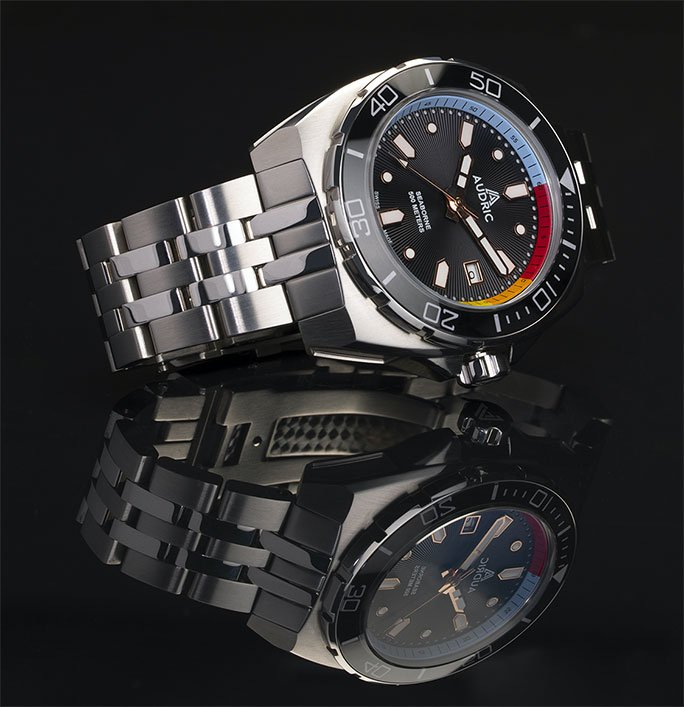 AUDRIC SeaBorne 500 M -  Black Dial - Swiss Made Automatic Dive Watch