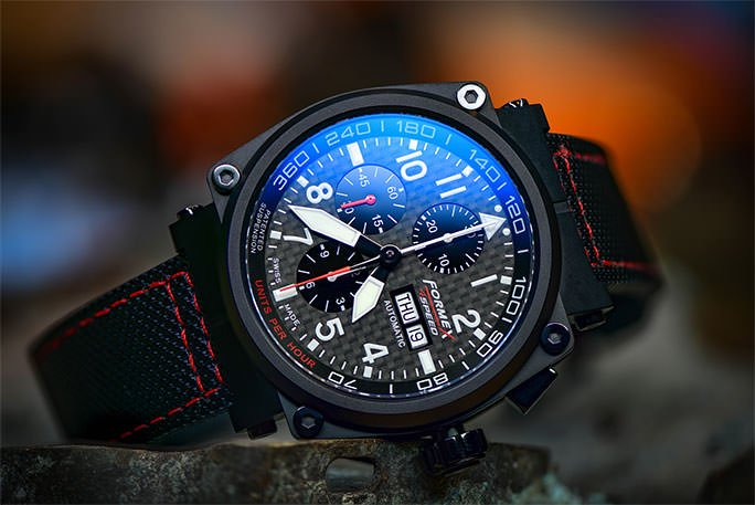 FORMEX PILOT AUTOMATIC CHRONOGRAPH CARBON DIAL BLACK LIMITED EDITION