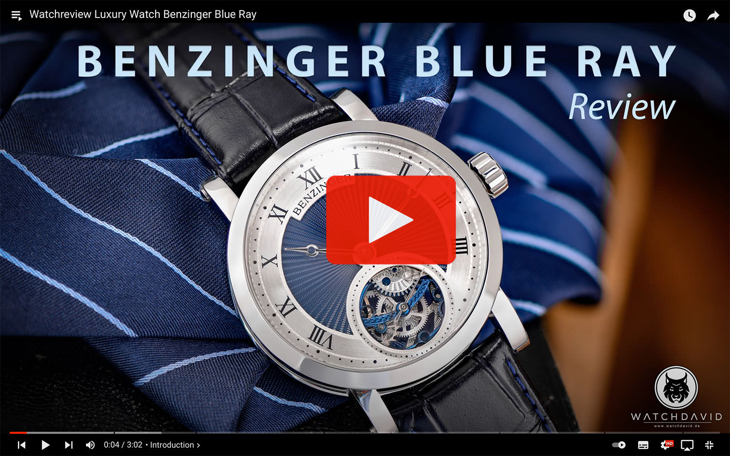 Watchreview Luxury Watch Benzinger Blue Ray 4K YouTube by WATCHDAVID